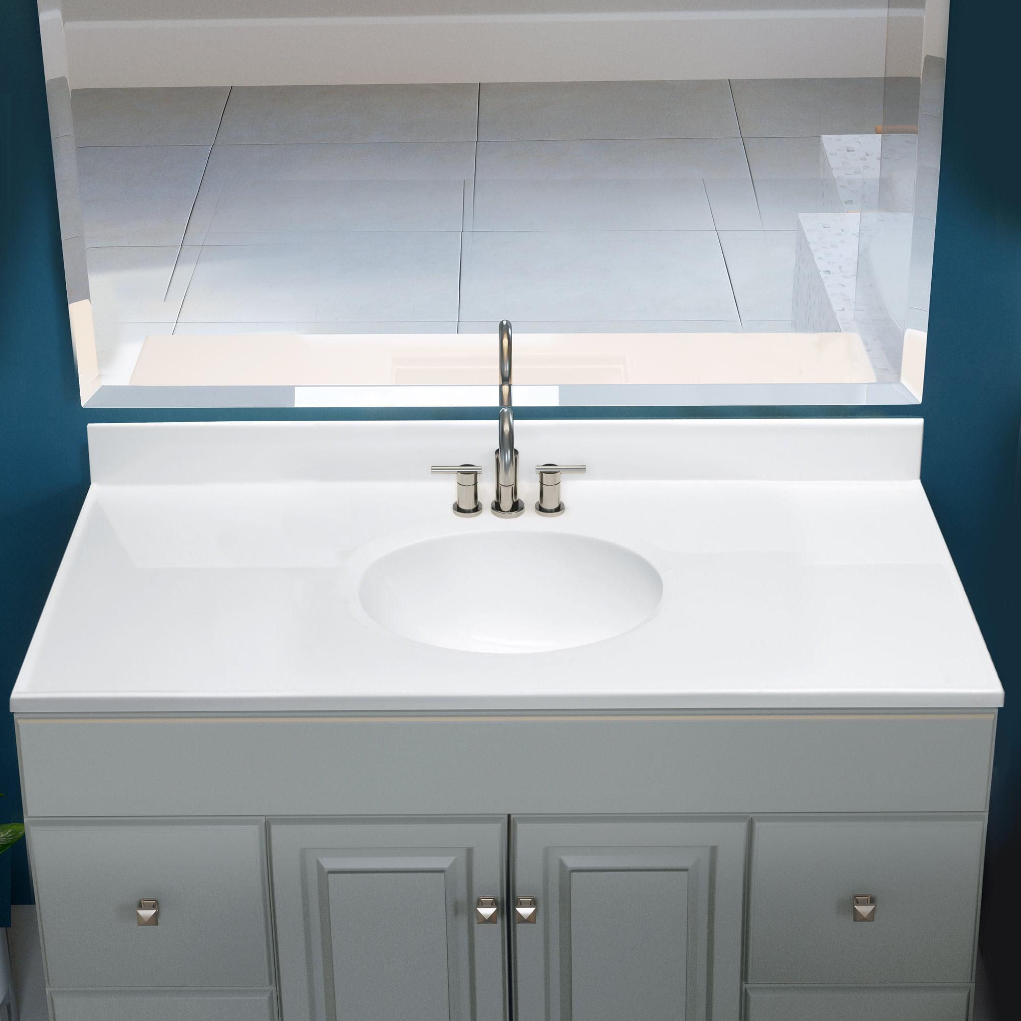 Design House Cultured Marble Vanity Top 49x19 Solid White Walmart Com Walmart Com