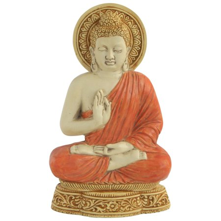 Buddha Relief Wall Plaque with Color Detail, 9 Inches