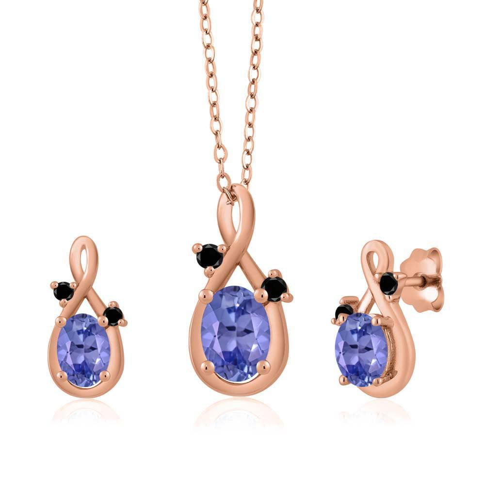 1.75 Ct Oval Blue Tanzanite 18K Rose Gold Pendant Earrings Set by