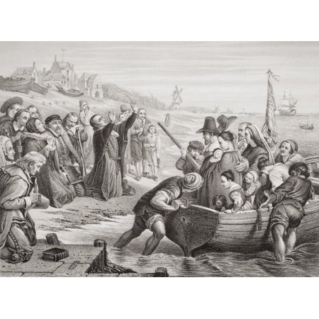 Departure Of The Pilgrim Fathers From Delft Haven July 1620 Engraved By T Bauer After Cw Cope From The Book Illustrations Of English And Scottish History Volume 1 Canvas Art   Ken Welsh  Design Pics