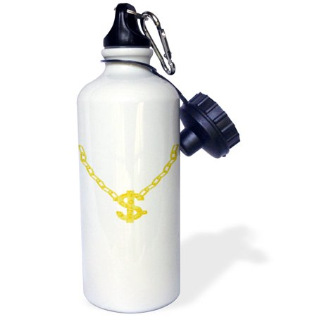3dRose Gold Chain with Dollar Sign - Bling Art, Sports Water Bottle, 21oz
