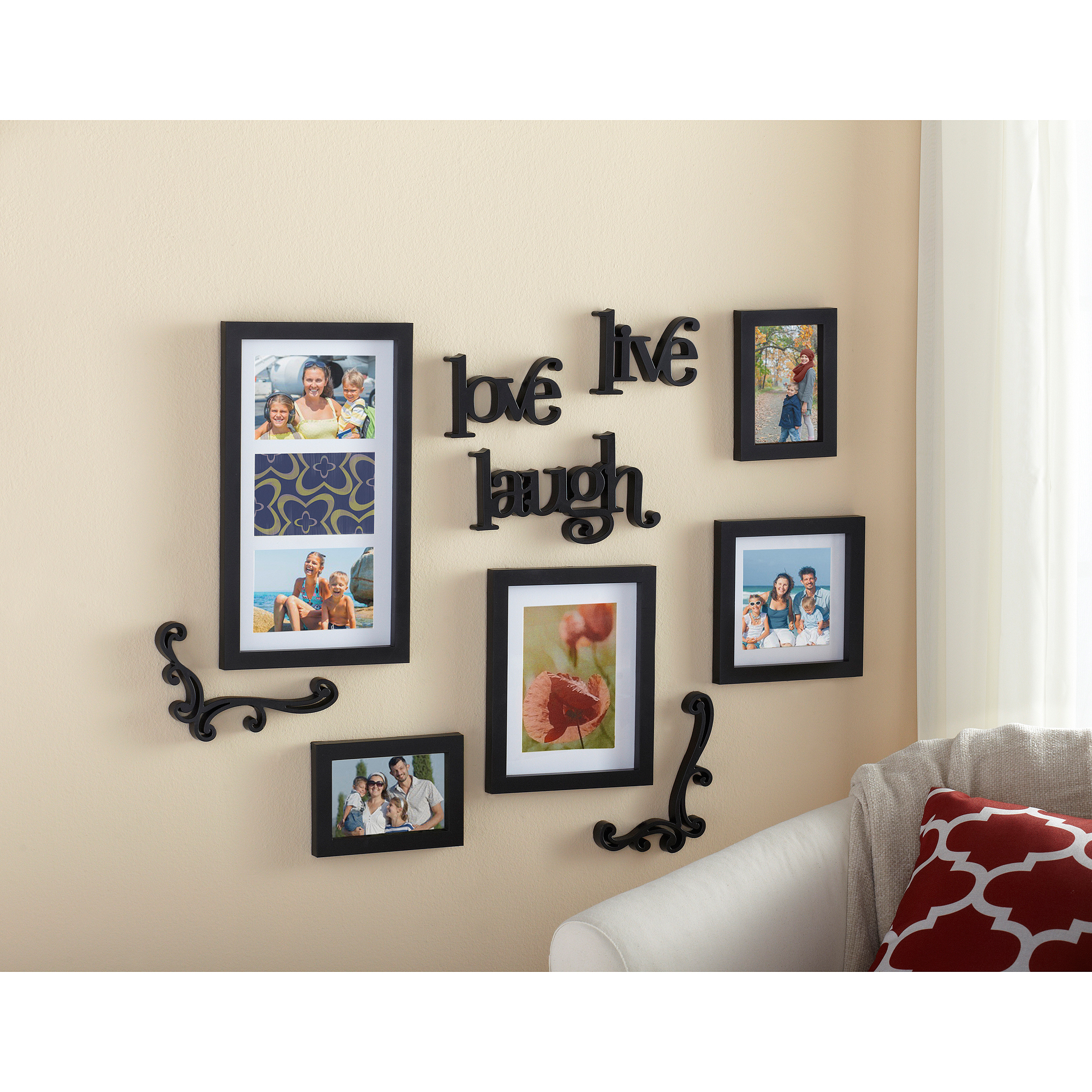 Wall Photo Frames Collage mainstays 10-piece expressions wall frame set - walmart