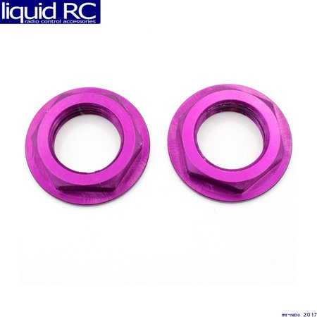 (Hot Racing WHM2307F Aluminum Purple Flanged M17 23mm Hex Lock Nut (2))