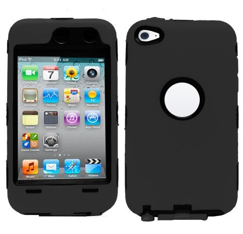 Hybrid Hard Silicone Case for iPod Touch 4th Gen - Black/Black