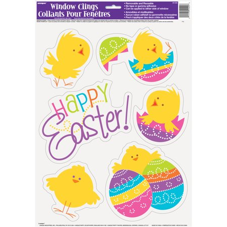 (3 pack) Spring Chick Easter Window Cling Sheet - Halloween Window Clings Uk