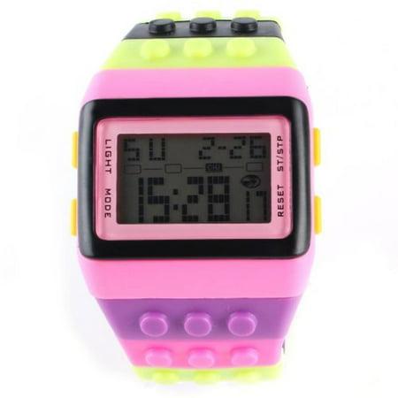 Toddcahalan Shhors New Sport Led Digital Brick Block Binary Watch Lcd Wristband Pink Purple Green Red