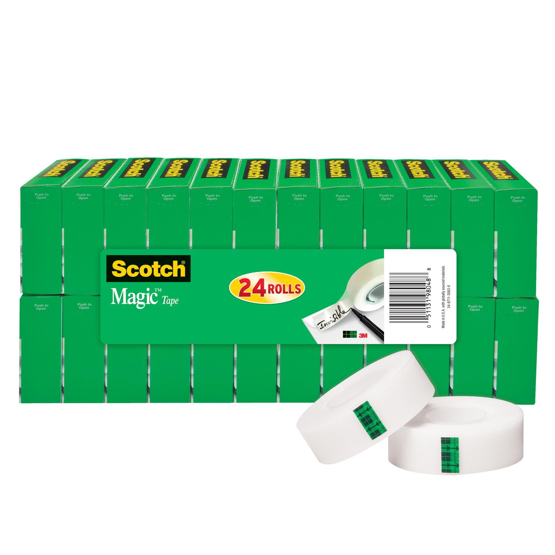 Scotch Magic Tape 24 Pack, 3/4in. X 1000in., Clear, 24 rolls per pack