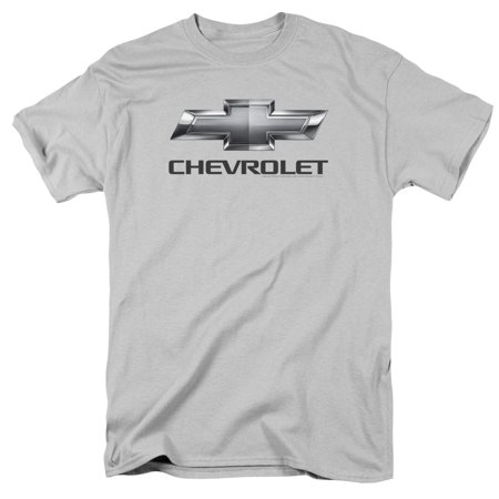 Chevrolet Automobiles Chevy Classic Bowtie Logo On Silver Adult T Shirt Tee