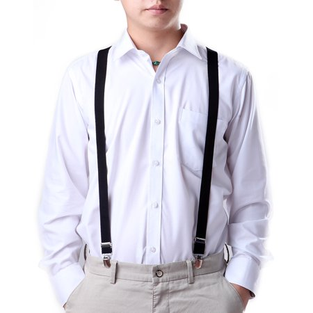 HDE Men's Elastic Y-Back Clip Suspenders - 1 Inch Wide (Black) - Rainbow Suspenders