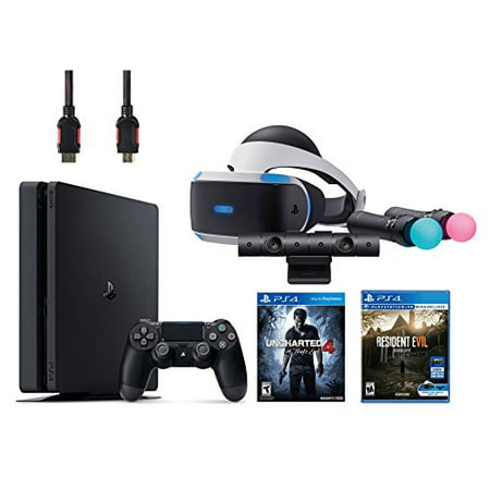 PlayStation VR Bundle 5 Items:VR Headset,Playstation Camera,Playstation Move Motion Controllers,PlayStation 4 Slim 500GB Console - Uncharted 4,VR Game Disc Resident Evil 7:Biohazard