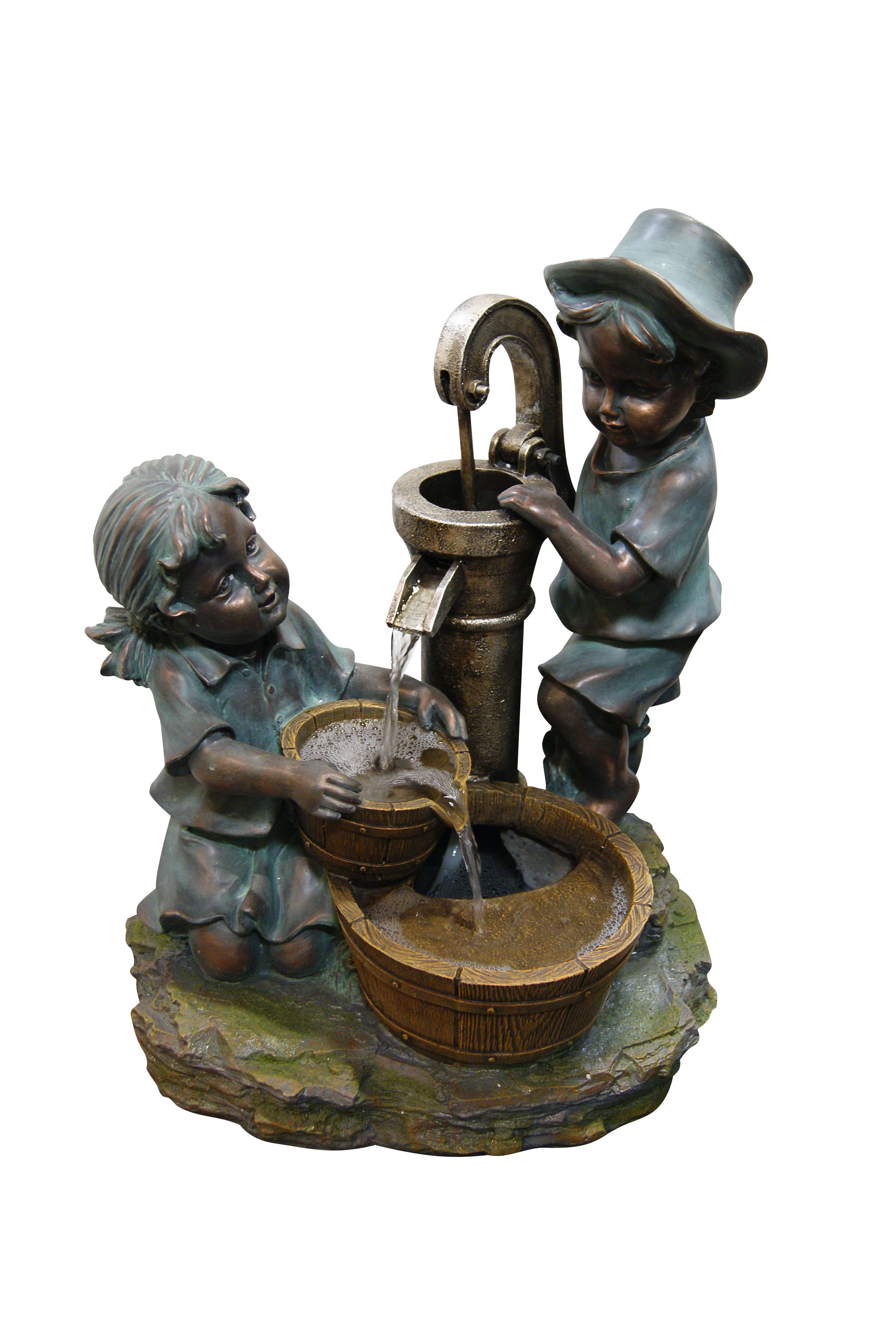 Alpine Polyresin Fountain with Boy and Girl Fetching Water, 24 Inch Tall by Benzara