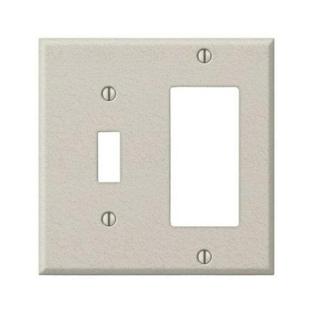 Steel Wrinkle Wall Plate - C982TRAL 1 Toggle-1 Rocker-GFCI Pro-Light Almond Wrinkle Stamped Steel Wall Plate