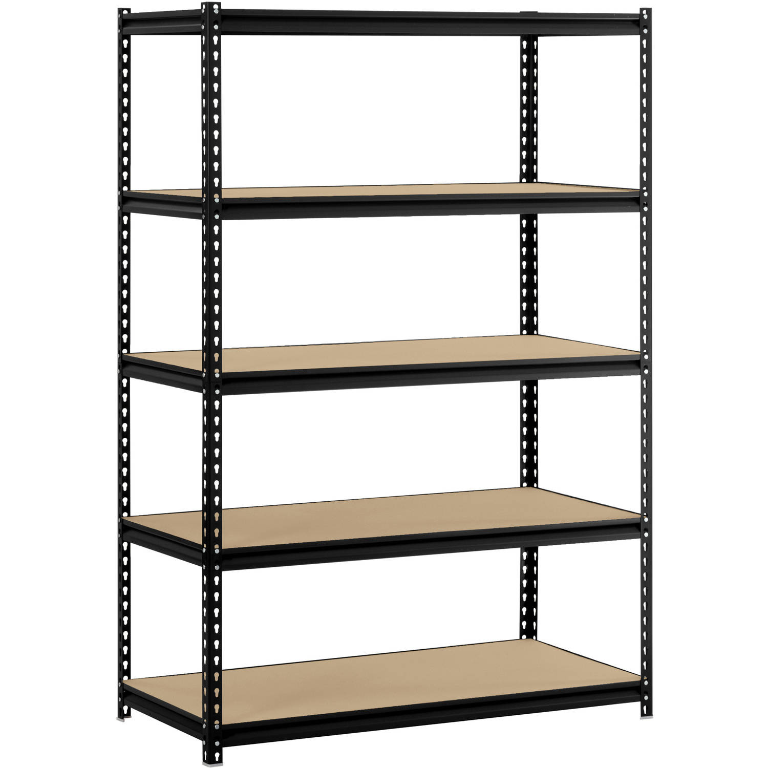 "Edsal 48""W x 24""D x 72""H 5-Shelf Steel Shelving, Black"