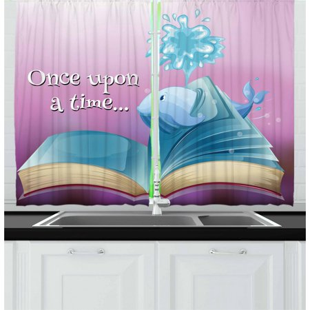 Once Upon a Time Curtains 2 Panels Set, A Storybook and Quote with Baby Whale Fantastic Ocean Tale Kids Cartoon, Window Drapes for Living Room Bedroom, 55W X 39L Inches, Multicolor, by Ambesonne ()