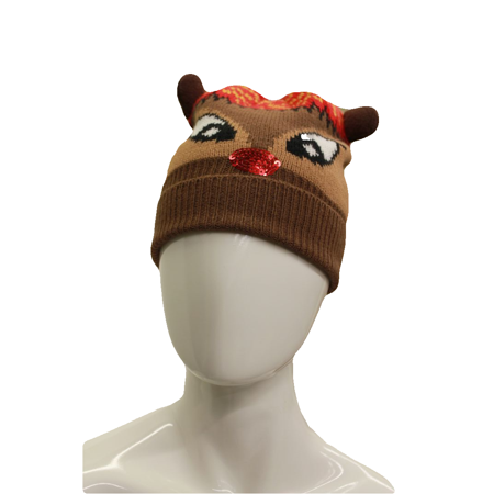 3297bfe692206 Macy s Unisex Brown Red Holiday Rudolph Hat - Walmart.com