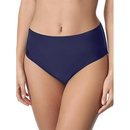 Women's Mid Waist Swim Briefs Solid Swim Bikini Bottom Tankini Shorts Swim Panty Swimsuit Bottom Blue Black Plus Size - Mid Cut Bottom