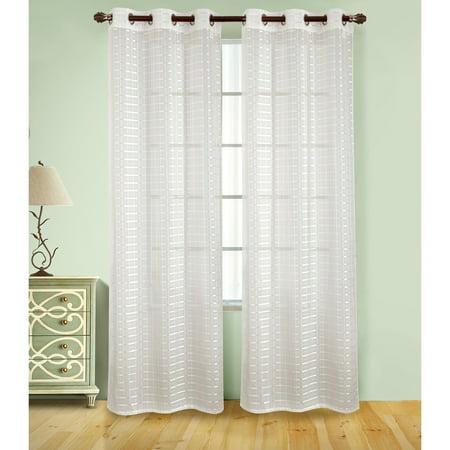 Wanda Box Voile 76 x 84 in. Grommet Curtain Panel Pair, Beige (Set of 2)