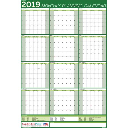 2019 Wall Calendar (Green), Yearly Planner, Laminated & Erasable. Vertical (MPN) GREEN-27x40