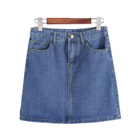JDinms Women's Basic Five-Pocket Rugged Denim Mini Skirt