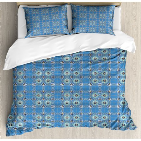 Moroccan Duvet Cover Set, Ancient Culture Art Designs Patchwork Style in Blue Tones with Flowers Curls, Decorative Bedding Set with Pillow Shams, Blue Aqua Orange, by Ambesonne ()
