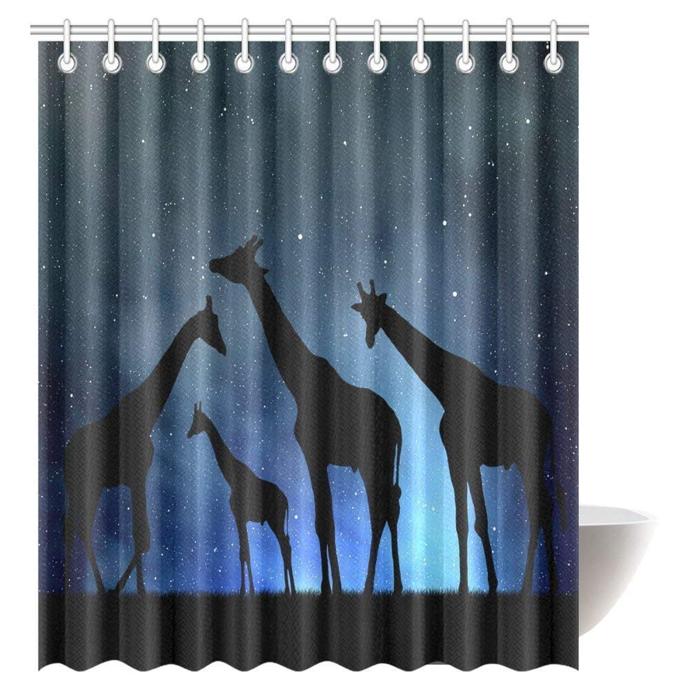 GCKG Wildlife Decor Shower Curtain Set Safari With Giraffe Crew In The Night Sky Polyester Fabric Bathroom 66x72 Inches