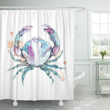 PKNMT Watercolor Sea Crab Blue Water Animal Beach Marine Silhouette Shower Curtain 60x72
