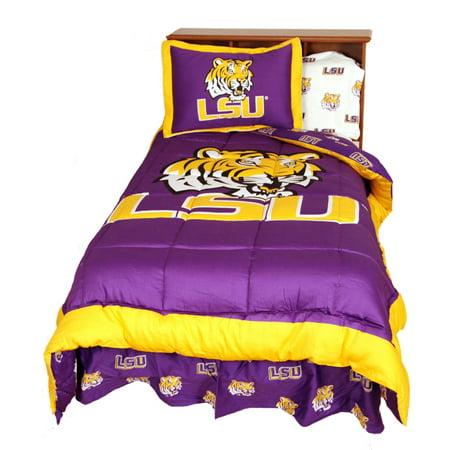 LSU Tigers 2 Pc Comforter Set, 1 Comforter, 1 Sham, Twin