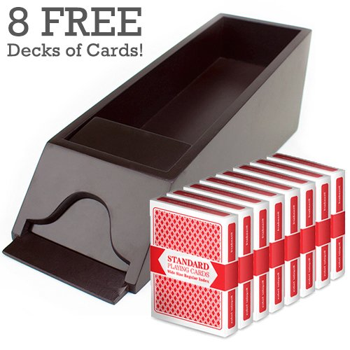 Brybelly 8 Deck Wooden Blackjack Dealer Shoe w/ 8 Decks of Playing Cards