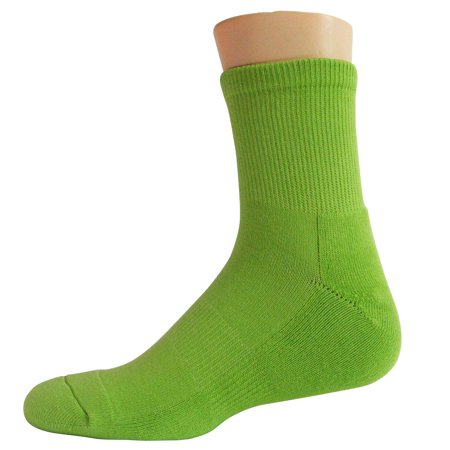 Couver Premium Basketball Athletic Cushioned Crew Socks, LIME GREEN,