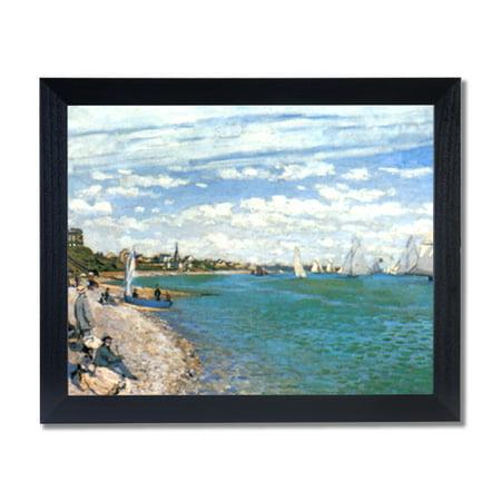 Claude Monet Tropical Beach Sailboat Wall Picture Black Framed Art Print