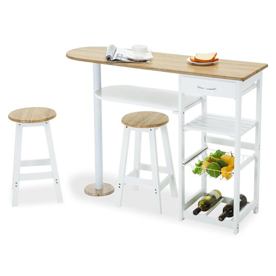 4 Family Kitchen Island Cart Trolley Portable Rolling Storage Table 2 Stools