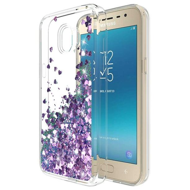 Galaxy J2 Pro 2018 Case With Tempered Glass Screen Protector Rosebono Quicksand Glitter Sparkly Bling Cute Liquid Shiny Luxury Protective Case For Samsung Galaxy J2 Pro Sm J250 Purple Walmart Com Walmart Com