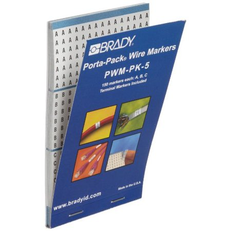 Brady PWM-PK-5 B-500 Repositionable Vinyl Cloth, Black on White Porta-Pack Wire Marker, Legend
