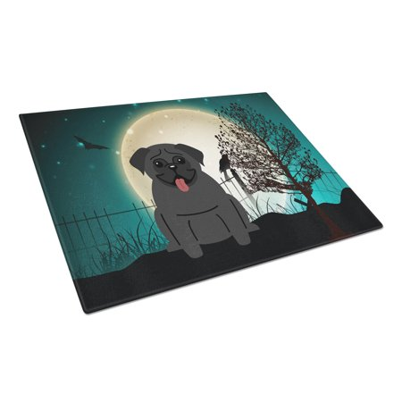 Caroline's Treasures Halloween Scary Pug Black Glass Cutting Board Large - Halloween Svg Cutting Files