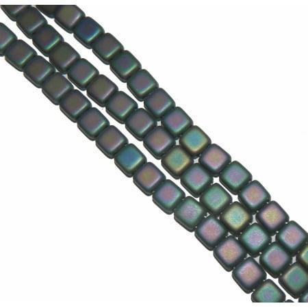 Matte Iris Purple Czechmate 6mm Square Glass Czech Two Hole 25 Tile, Loose Beads,