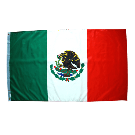 3x5 Foot Mexico Flag Double Stitched Mexican Flag with Brass Grommets | 3 by 5 Foot Premium Indoor Outdoor Polyester Banner
