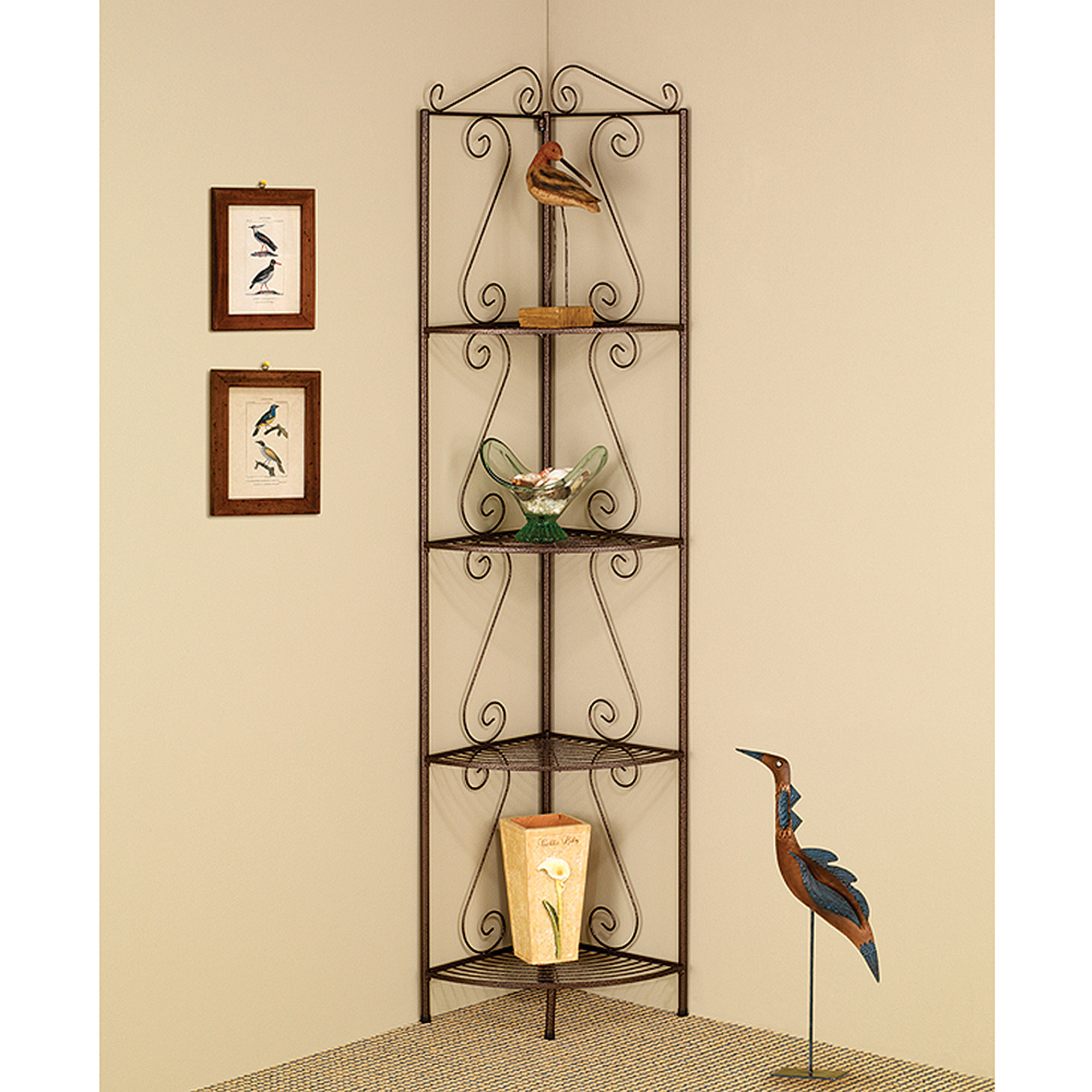 "Monarch 4-Shelf Bookcase - 70""H / Copper Metal Corner Etagere"