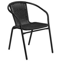 Bowery Hill Rattan Stacking Patio Chair in Black