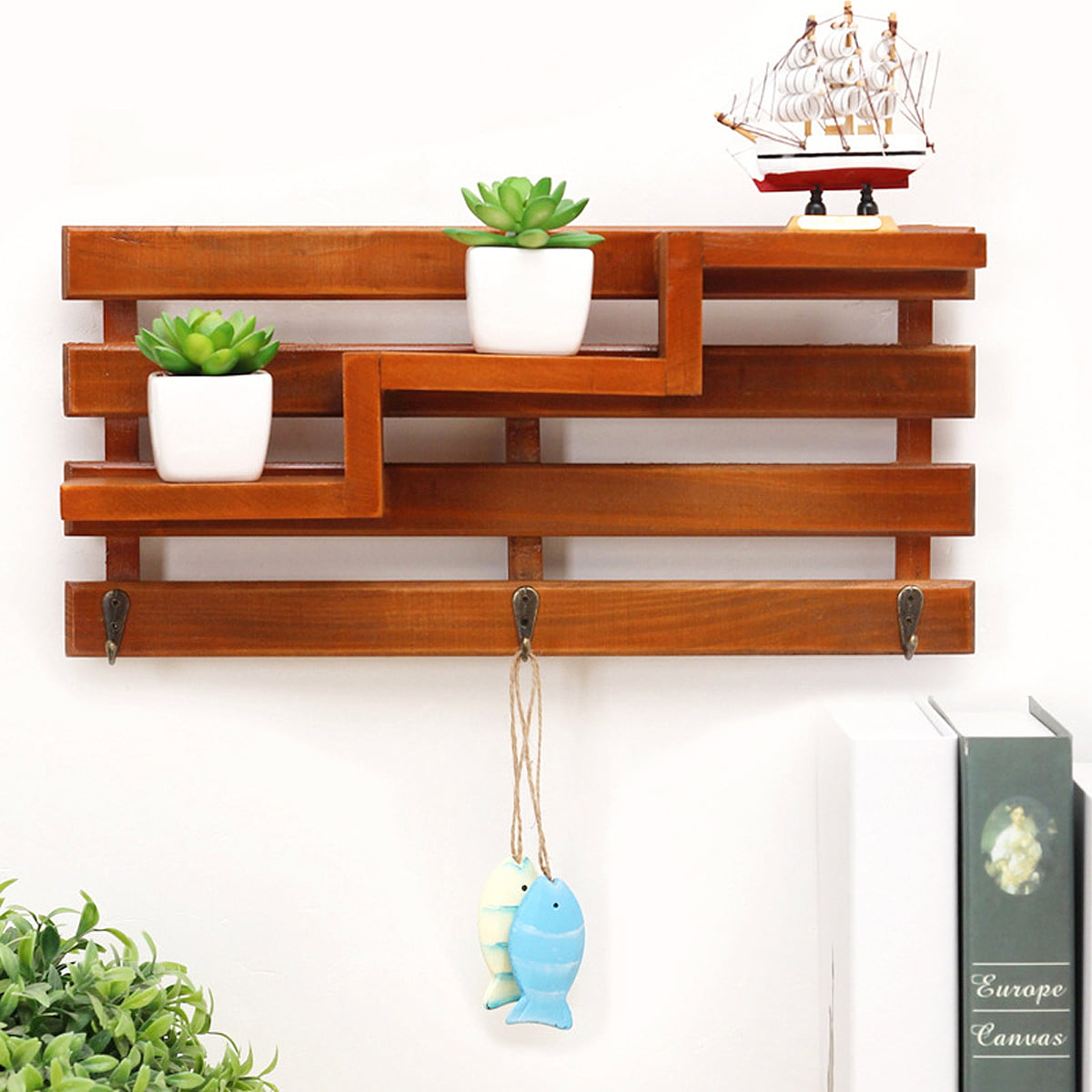 Vintage Wooden Wall Shelf Wood Wall Shelves Storage Rack Household Floating  Shelf Holder 8 Hanger Hooks Home Bathroom Bedroom Living room Home Art &