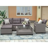 Patio Conversation Set, 4 Piece Outdoor Wicker Furniture Set with Loveseat Sofa, Lounge Chair, Wicker Chair, Coffee Table, All-Weather Patio Sectional Sofa Set with Cushions for Backyard Garden Pool