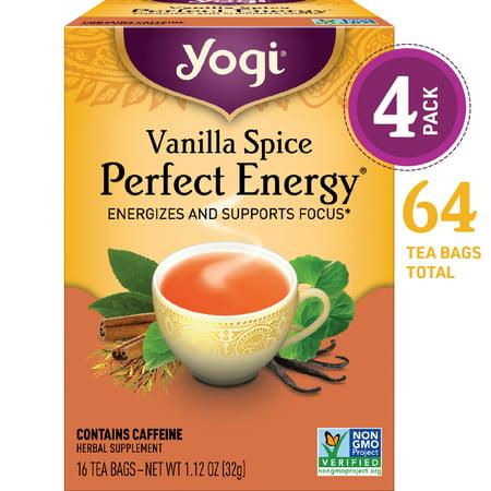 (Pack of 4) Yogi Tea, Vanilla Spice Perfect Energy Tea, Tea Bags, 16 Ct, 1.12 OZ