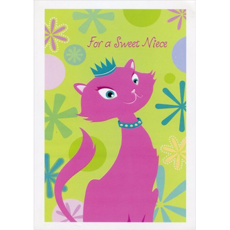 Designer Greetings Pink Cat with Blue Collar: Niece Valentine's Day Card