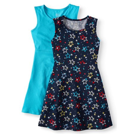 Wonder Nation Sleeveless Play Dress, 2-Pack (Little Girls, Big Girls & Big Girls Plus)
