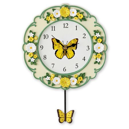 Yellow Butterfly and Daisy Wall Clock with Swinging Pendulum, Hand-Painted Detail