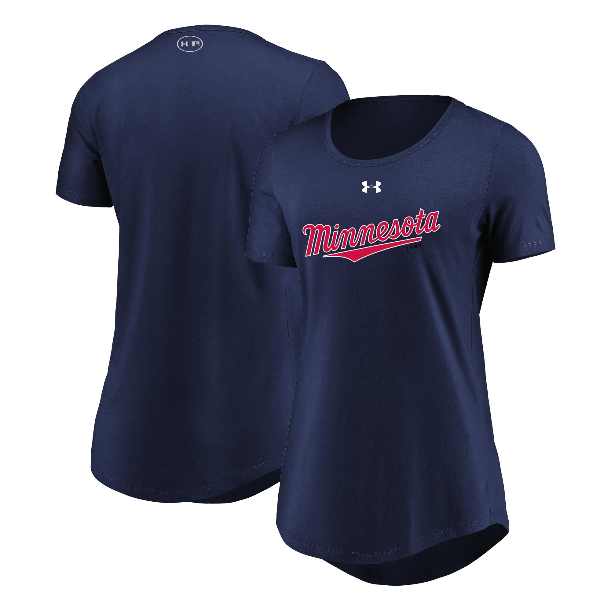 Minnesota Twins Under Armour Women's Passion Road Team Font Scoop Performance Tri-Blend T-Shirt - Navy
