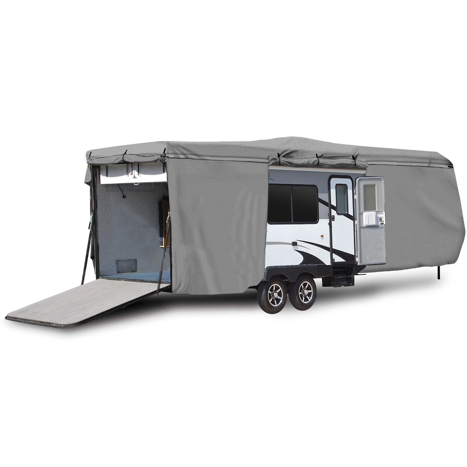 Waterproof Superior 5th Wheel Toy Hauler RV Motorhome Cover Fits Length 20-23 New Fifth Wheel Travel Trailer Camper Zippered Panels Heavy Duty 4 Layer Fabric
