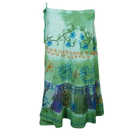 - Mogul Womens Beach Cover Up Wrap Skirt Indian Tie Dye Green Floral Embroidered Skirts