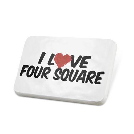 Square Lapel Pin (Porcelein Pin I Love Four Square Lapel Badge – NEONBLOND)