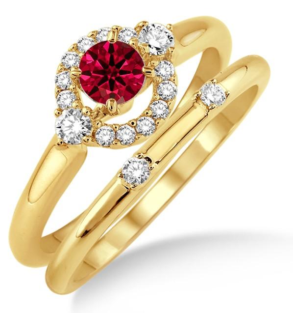 1.25 Carat Ruby & Diamond Elegant Flower Halo Bridal Set on 10k Yellow Gold by JeenJewels
