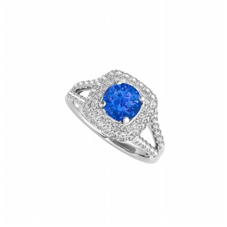 Design Shank Ring - Fine Jewelry Vault UBUNR50848EAGCZS Split Shank Design Engagement Ring With Sapphire & CZ, 16 Stones